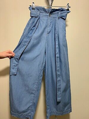 $25.19 • Buy NWD ZARA Blue Woman PAPERBAG CULOTTE TROUSER With ELASTIC Waist Size XL #3643