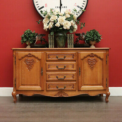 AU895 • Buy Vintage French Sideboard, Low Line 4 Drawer 2 Door TV Cabinet Sideboard Cupboard