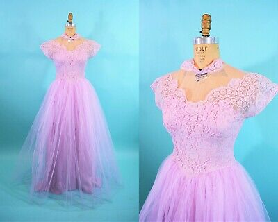 £275.11 • Buy Vintage 1950s Prom Dress Tulle Lace Pink Purple Formal Gown   W 30