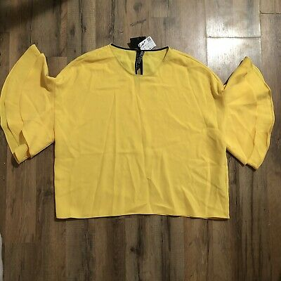 $21 • Buy Women's Zara Yellow Ruffle Layer Flutter Sleeve Blouse Size Large