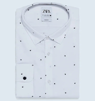 $15 • Buy Zara Textured Easy Care Geometric Print Shirt Slim Fit L
