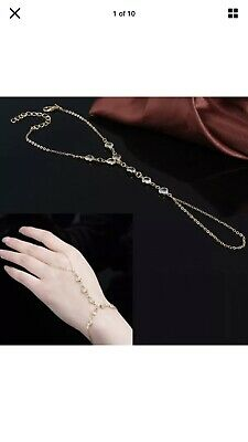 Diamante Crystal Stone Silver Gold Hand Panja Hand Chain Braclet Ring Hand Piece • 5.99£