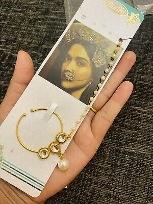 Indian Imitation Jewellery/ Bridal/Party/ Gold, Pearl Nath Nose Ring • 6.99£