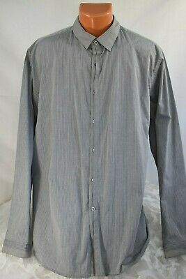 MEN - AMERICAN RAG CIE (XXL) Shirt GREY COMBO Pinpoint Stripe Covered Button Top • 7.12£