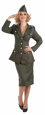 Army Costume 1930s 1940s Ladies Uniform Fancy Dress Outfit Military World War • 28.15£