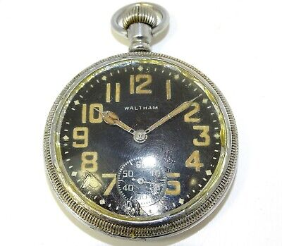 Wwii Waltham Usa Military Black Faced Pocket Watch With Inner Second Hand 9 Jew  • 12£