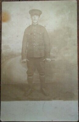 WW1 BRITISH SOLDIER Uniform Swagger Stick Names Sid Real Photo PC London C1916 • 2£