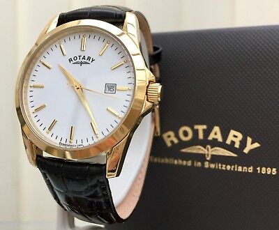 NEW Rotary Mens Watch Black Leather Strap Gold Plated RRP£189 Easy To Read Boxed • 79.99£