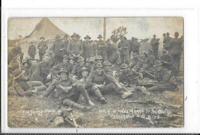 WW1 Photographic Postcard Australian Soldiers In Uniform After March To Butts 15 • 10£