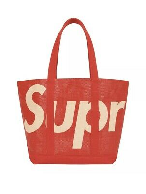 $ CDN214.47 • Buy Supreme Raffia Tote Bag Red - IN HAND SS20 With 2 Stickers