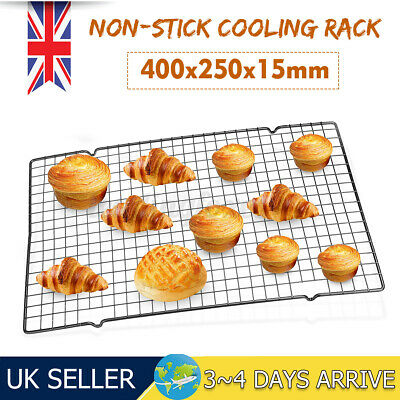UK Cake Cooling Rack Non-stick Shelf Tray Grid Wire Mesh Food Stand  • 6.31£