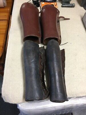 Military Leather Leggings/ Gaiters X 2 Pairs ( Ww1 Or Ww2 Or Early ? ) Two Pairs • 9.99£