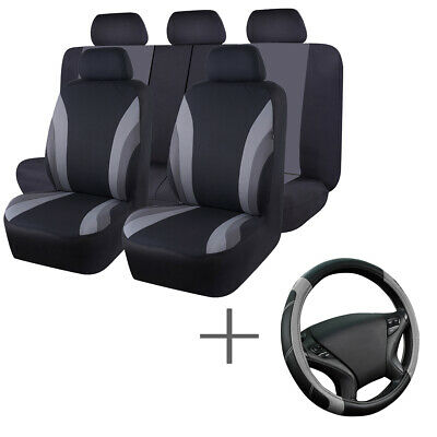 AU56.99 • Buy Universal Car Seat Covers Black Grey Steering Wheel Cover Airbag Fit Most Cars