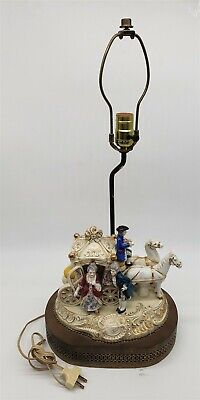 $ CDN52.84 • Buy ThriftCHI ~ Victorian Porcelain Carriage Scene Lamp On Metal Base Unmarked