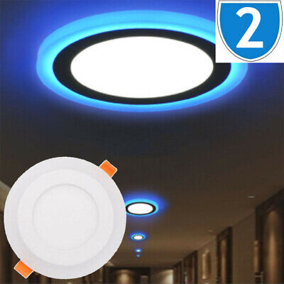 £19.99 • Buy 2x LED Slim Flat Panel Ceiling Mounted Recessed Down Light 3 Mode Dual Colour 9W