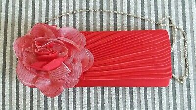 £8 • Buy Leko London Red Satin Corsage Clutch Bag With Chain- BNWOT
