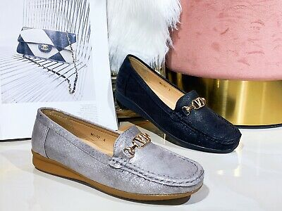 New Womens Ladies Buckle Cushion Comfortable Moccasin Office Work Loafers Shoe • 14.99£