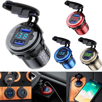 $ CDN11.86 • Buy 12V-24V QC3.0 Car Dual USB Charger Quick Charge Socket Power Outlet W/Voltmeter
