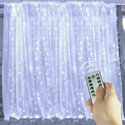 £6.49 • Buy 300 LED Fairy String Lights Curtain Window Twinkle Xmas Party Wedding Home Decor