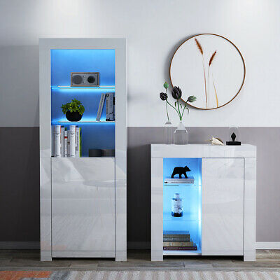 White Side Cabinet High Gloss Fronts Display Sideboard LED Lights Living Room • 139£