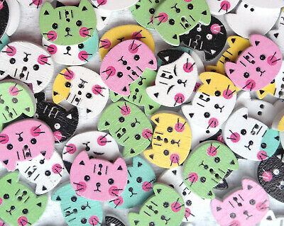 £2.29 • Buy 10 Cat Head Wooden Buttons Children Animal Fun Knitting Sewing Crocheting Craft