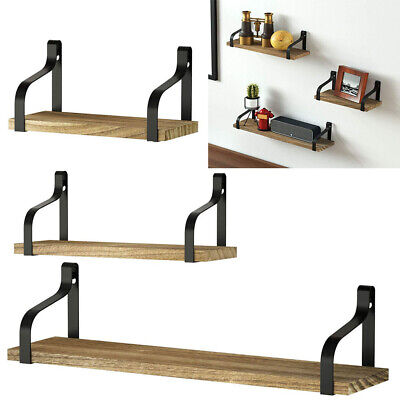 Set Of 3 Floating Industrial Rustic Wooden Wall Storage Shelves Rack Home Decor • 16.95£