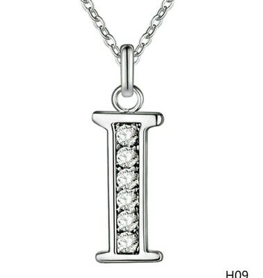 £4.99 • Buy INITIAL I NECKLACE LETTER NAME PENDANT SILVER PLATED & CRYSTAL 18inch CHAIN NEW