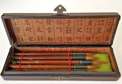 5 Retro Chinese Japanese Calligraphy Brush Ink Pen Writing Painting Tool In Case • 29£