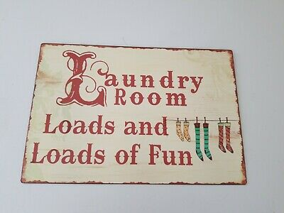 Laundry Room Loads And Loads Of Fun Metal Sign 14  X 9.5  Plaque Picture Frame • 11.57£