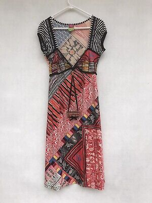 AU59 • Buy 🔹 Save The Queen Stretch A-line Dress Multicoloured Print Made In Italy Size L