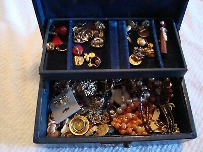 $ CDN121.74 • Buy Vintage Jewelry Box W/ Lots Of Earrings/Necklaces + More