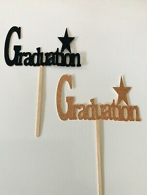 GRADUATION Glitter Sparkly Paper CAKE TOPPER Decoration Silver Or Rose Gold  • 3.99£