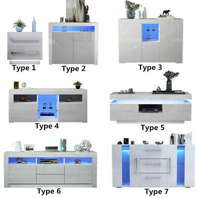 Cabinet TV Unit Storage Sideboard Cupboard Side Table High Gloss Front LED Light • 139£