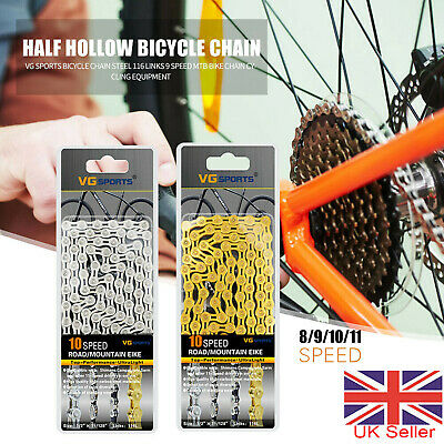 UK 8/9/10/11Speed Bike Chain MTB Racing Bicycle Cycling Component Parts 116links • 9.99£
