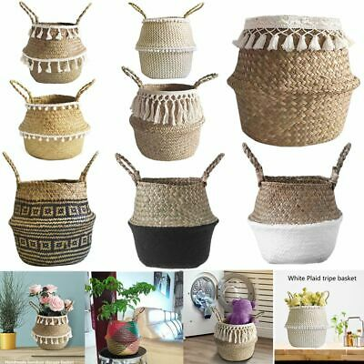 Woven Storage Flower Plants Seagrass Wicker Basket Straw Pots Bag Home Decor UK  • 8.49£