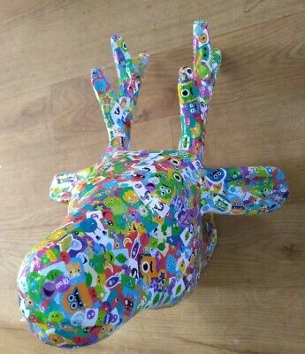DEER TROPHY HEAD FUNKY DECOUPAGE HANGING/WALL MOUNTED GIFT Quirky  33x28x34cm • 25£