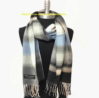 $8.29 • Buy New 100%CASHMERE SCARF MADE IN SCOTLAND Plaid Gray/blue/black SOFT UNISEX #N01