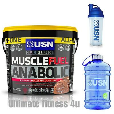 £49.99 • Buy USN Muscle Fuel Anabolic 4kg All In One Mass Gainer & AN Shaker + 2 Litre AN Jug
