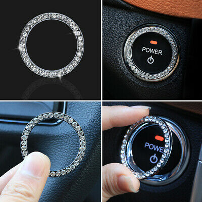 £4.69 • Buy Car SUV Bling Decorative Accessories Button Start Switch Silver Diamond 3cm Ring
