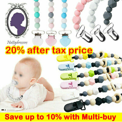 Dummy Clips Baby Soother Chain Holder Strap Pacifier Modern Design Teething Gift • 3.49£