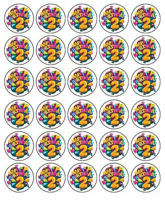 AU8.95 • Buy 2nd Birthday 30 Edible Wafer Paper Cupcake Toppers Birthday Cake Decoration