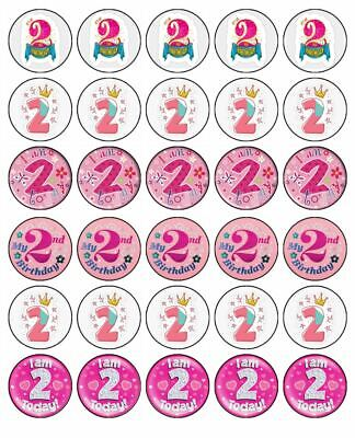 AU8.95 • Buy 2nd Birthday Girl 30 Edible Wafer Paper Cupcake Toppers Birthday Cake Decoration