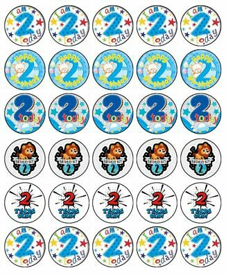 AU10.95 • Buy 2nd Birthday Boy 30 Edible Wafer Paper Cupcake Toppers Birthday Cake Decoration