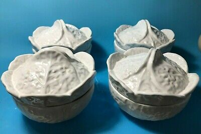 £56.25 • Buy 4 Majolica Art Pottery Portugal White Cabbage Leaf Covered Soup Bowls