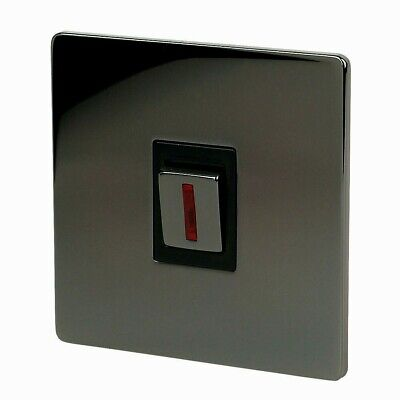 LAP - 20A Double Pole Switch With Neon Indicator   Black Nickle • 7.25£