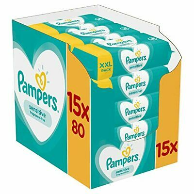 Pampers Sensitive Baby Wipes 15x80 = 1200 Wipes • 34.12£