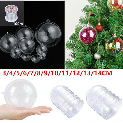5/50 Clear Plastic Ball Baubles Christmas Tree Ornament Candy Box Wedding Favors • 9.99£