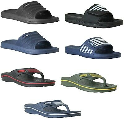 Mens Slip On Beach Summer Pool Sliders Mules Boys Indoor Flip Flops Sandals Size • 4.50£