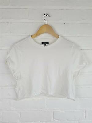 £8.25 • Buy Topshop Off White Cropped T-Shirt Tee Top Casual Size UK 8