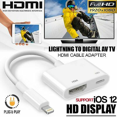 Lightning To Digital AV TV HDMI Cable Adapter 1080P For IPad Air Apple IPhone X • 8.69£